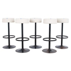 Raw Linen Upholstered Bar Stools, Set of Five