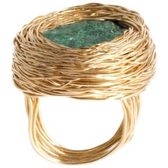 Raw Malachite in 14 Kt Gold Filled Nest as Cocktail Ring Created by the Artist