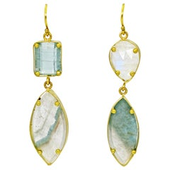 Raw Paraiba Tourmaline, Aquamarine and Moonstone 22 Karat Gold Dangle Earrings