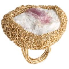 Raw Pink Tourmaline in White Matrix Gold Woven Statement Ring by Sheila Westera