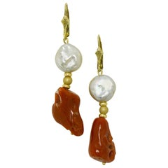 Raw Red Coral and Pearl Dangle Earrings Drop Style Lever Back 14 Karat Gold