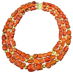 Raw Red Coral Triple-Strand Necklace with Gold-Plated Clasp