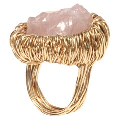 Raw Rose Quartz Woven in Yellow Gold Statement Ring by Sheila Westera