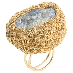 Raw Sapphire Woven Statement and Cocktail Ring by Sheila Westera London in Stock