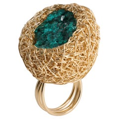 Raw Sea-Green Dioptase in 14 Karat Yellow Gold Cocktail Ring by Sheila Westera