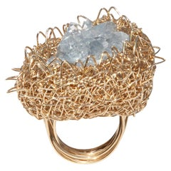 Raw Selenite Gold Woven Statement Cocktail Ring by Sheila Westera in Stock