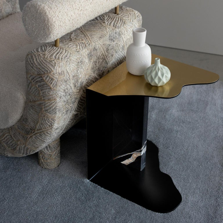 Raw Side Table Brushed Brass Sahara Noir Marble Black Lacquered For Sale 4