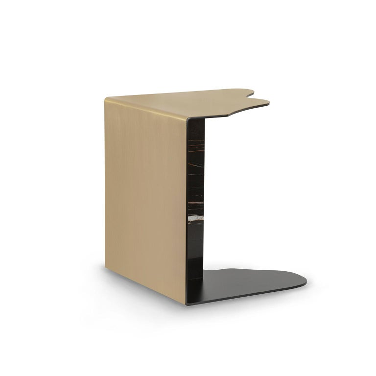 Modern Raw Side Table Brushed Brass Sahara Noir Marble Black Lacquered For Sale