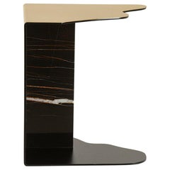 Raw Side Table Brushed Brass Sahara Noir Marble Black Lacquered