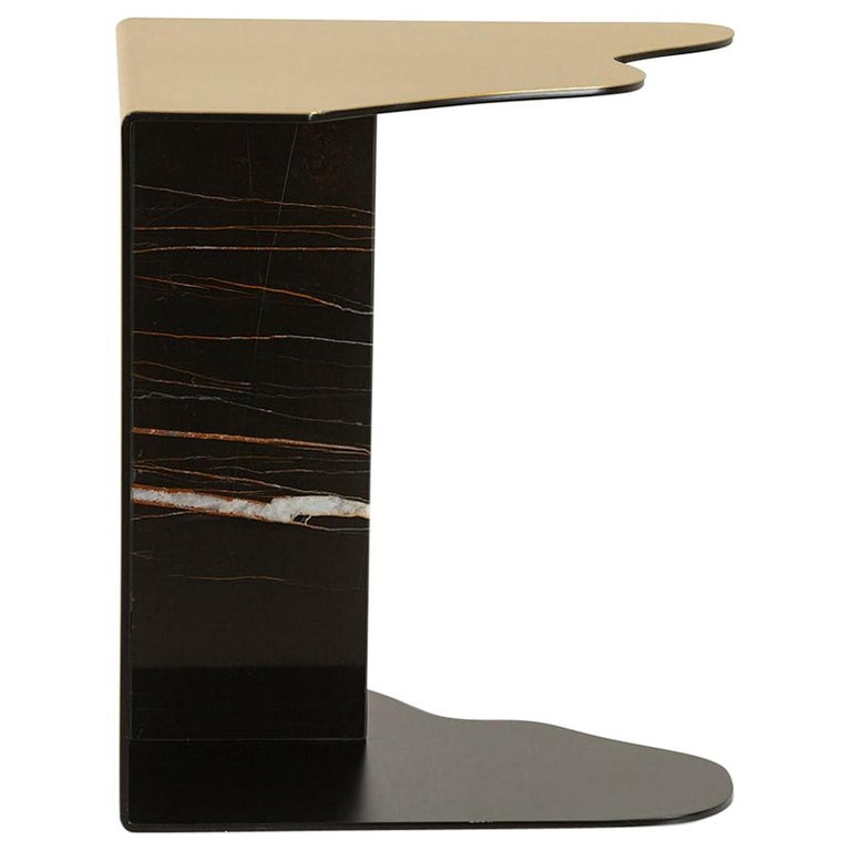 Raw Side Table Brushed Brass Sahara Noir Marble Black Lacquered For Sale