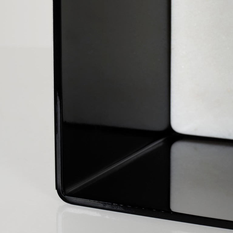 Portuguese Raw Side Table Calacatta Bianco Marble Polished Stainless Steel Black Lacquered For Sale