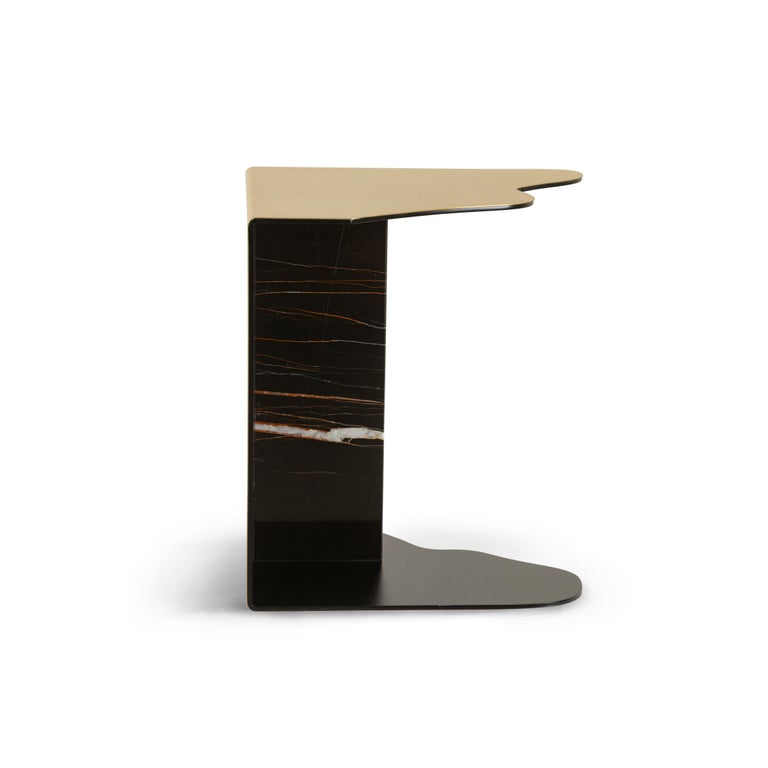 Contemporary Raw Side Table Calacatta Bianco Marble Polished Stainless Steel Black Lacquered For Sale