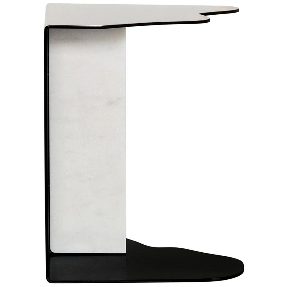 Raw Side Table Calacatta Bianco Marble Polished Stainless Steel Black Lacquered