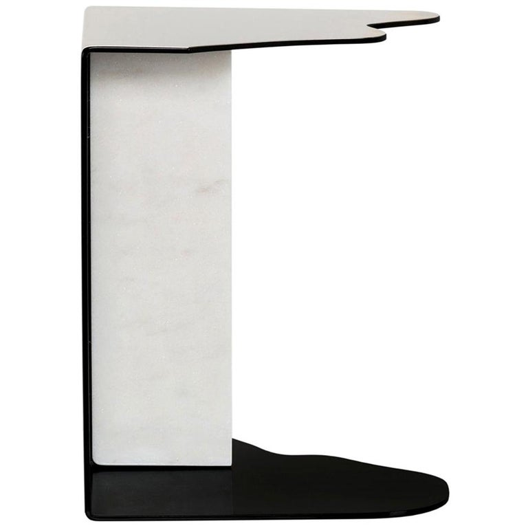 Raw Side Table Calacatta Bianco Marble Polished Stainless Steel Black Lacquered For Sale