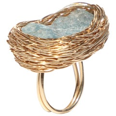 Raw Sky Blue Topaz in a One-of-a-Kind Gold Cocktail Ring by Sheila Westera