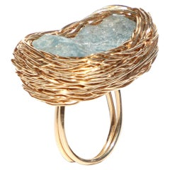 Raw Sky Blue Topaz in a One of a Kind Gold Cocktail Ring by Sheila Westera