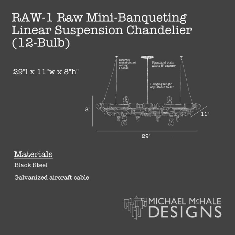 American Raw Steel Banqueting Short Linear Suspension For Sale