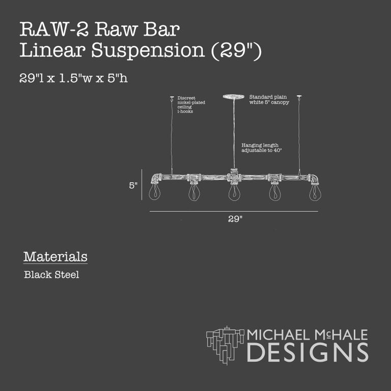 Industrial Raw Steel Bar 5-Light Linear Suspension For Sale