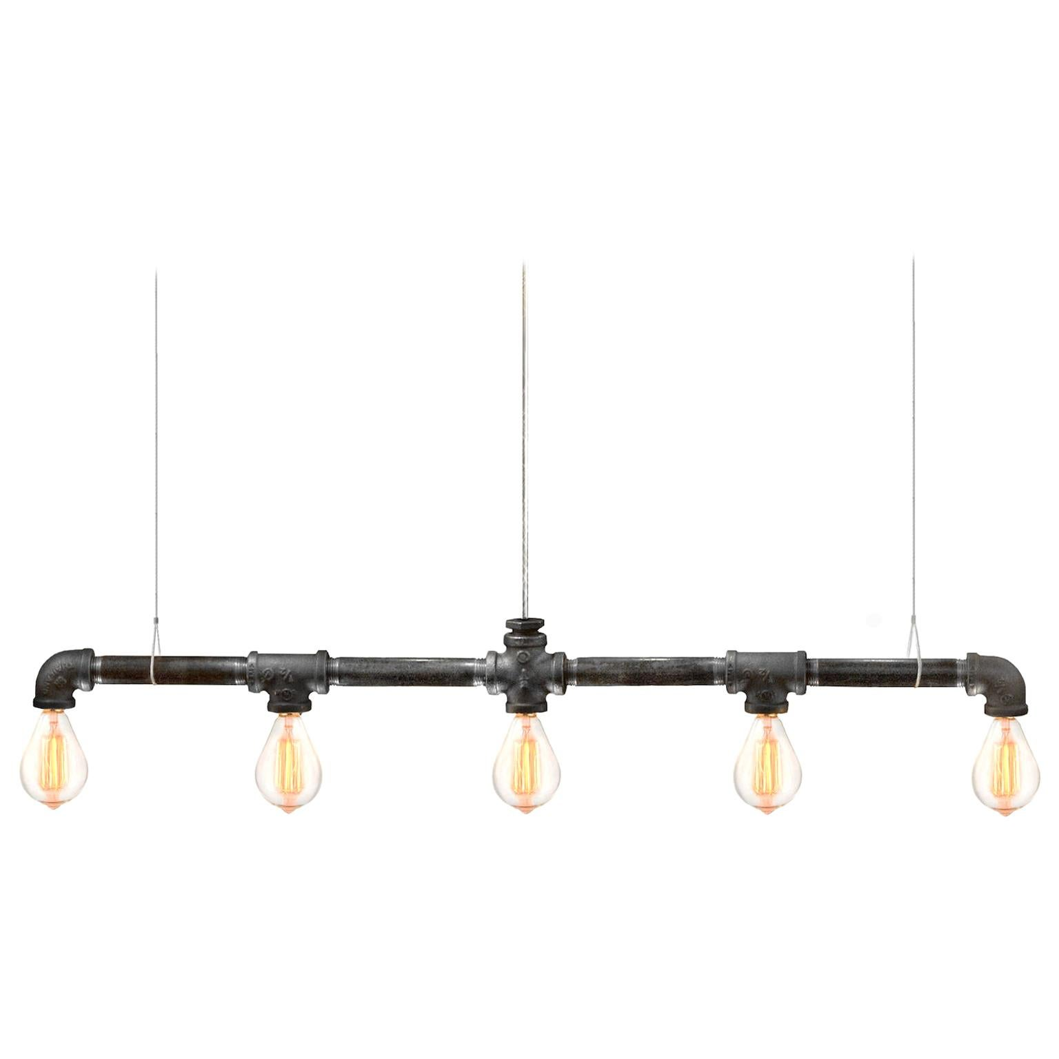 Raw Steel Bar 5-Light Linear Suspension