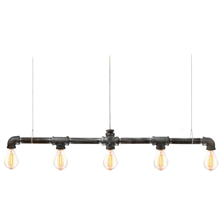 Raw Steel Bar 5-Light Linear Suspension For Sale