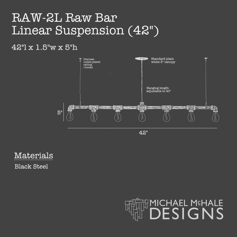 American Raw Steel Bar 7-Light Linear Suspension For Sale