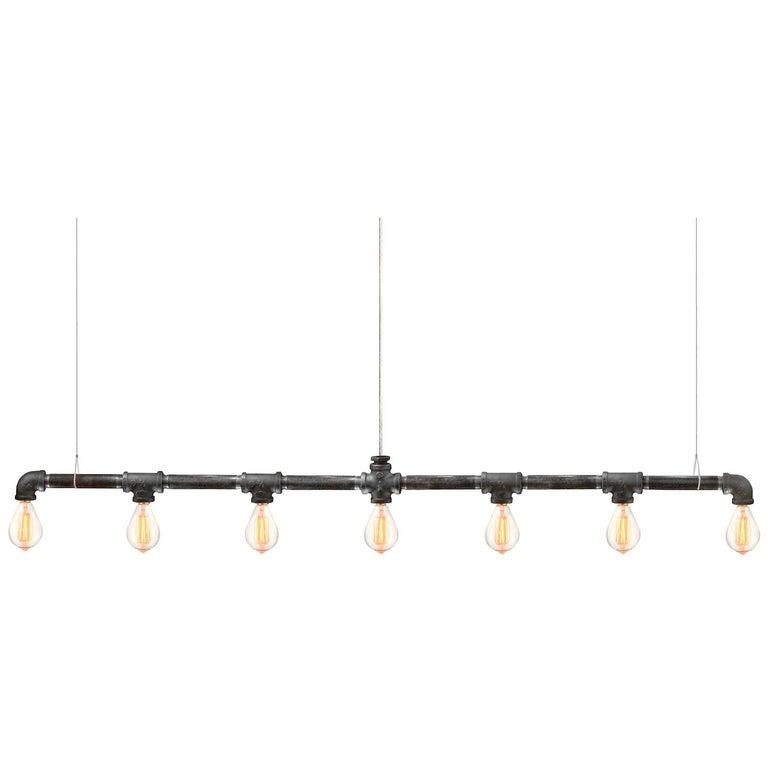 Raw Steel Bar 7-Light Linear Suspension For Sale