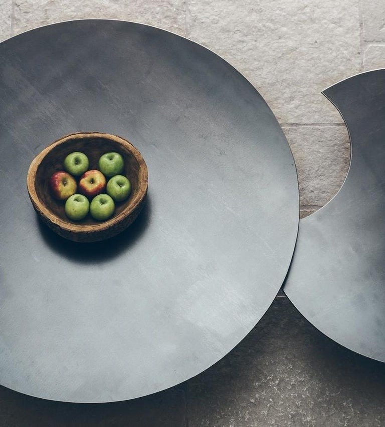 Round 3 Round Coffee Table Made Of Metal Cm ø80x23h: Raw Steel Round Set Of 2 Coffee Table For Sale At 1stdibs