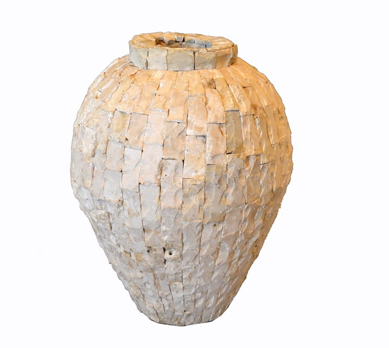 American Raw Tessellated Fossil Stone Floor Vase For Sale