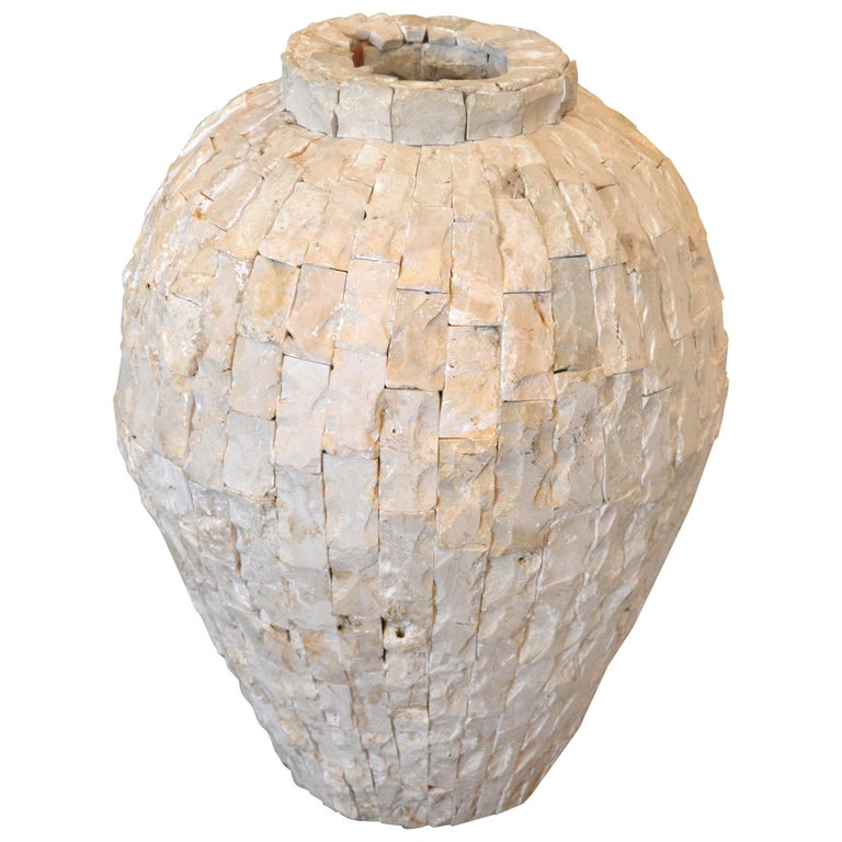 Raw Tessellated Fossil Stone Floor Vase For Sale