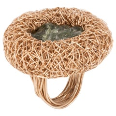 Raw Tourmaline Rose Gold Statement Cocktail Ring by Sheila Westera London