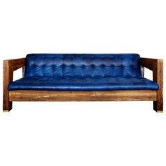 Rawdeco Sofa in Indigo Dyed Cowhide and Pine by Cam Crockford