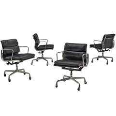 Ray and Charles Eames Black Leather Swivel Desk Chair