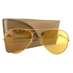 Ray Ban Vintage Aviator Gold Ambermatic 58Mm B / L Sunglasses, 1970s
