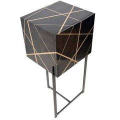 Ray Cabinet in Ebony, Bronze Inlay and Iron Base by Newell Design