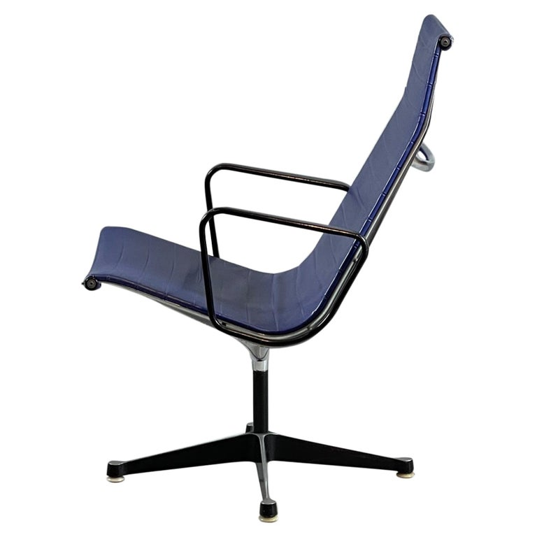 Ray & Charles Eames EA 116 / Vinyl Blue Swivel Lounge Chair, by Herman Miller For Sale