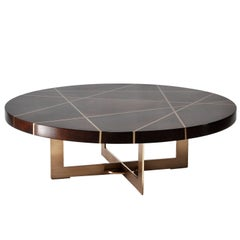 Ray Circular Cocktail Table in Walnut and Bronze by Newell Design