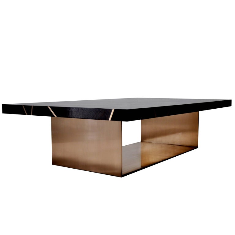 Ray Cocktail Table in Figured Walnut with Bronze Inlay and Base by Newell Design