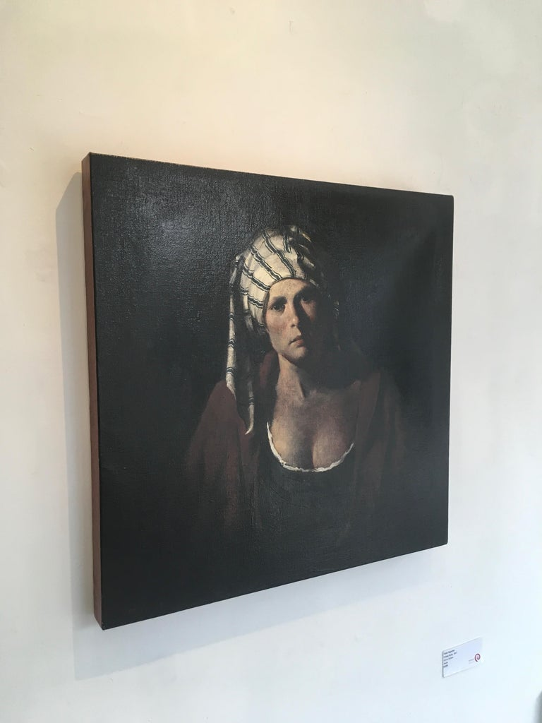 Striped Cap, baroque inspired oil female portrait, black, deep red - Painting by Ray Donley