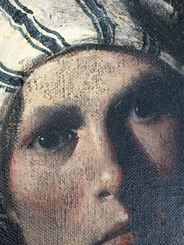 Striped Cap, baroque inspired oil female portrait, black, deep red - Baroque Painting by Ray Donley