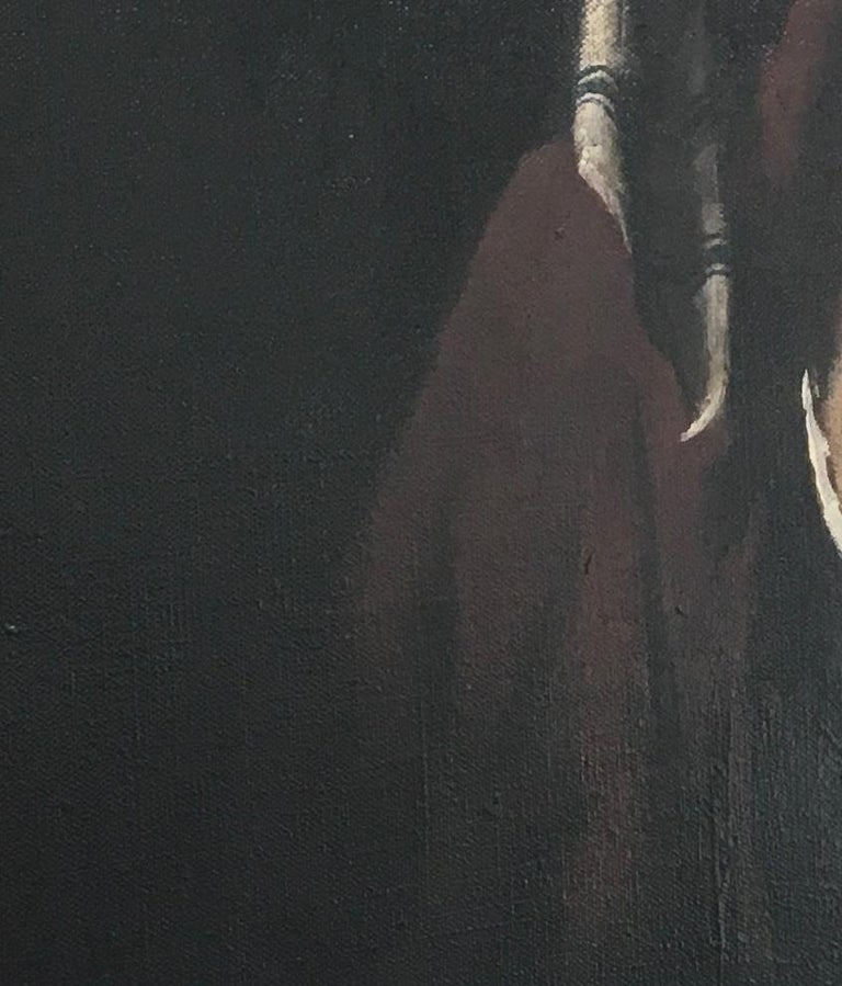 Striped Cap, baroque inspired oil female portrait, black, deep red - Black Portrait Painting by Ray Donley