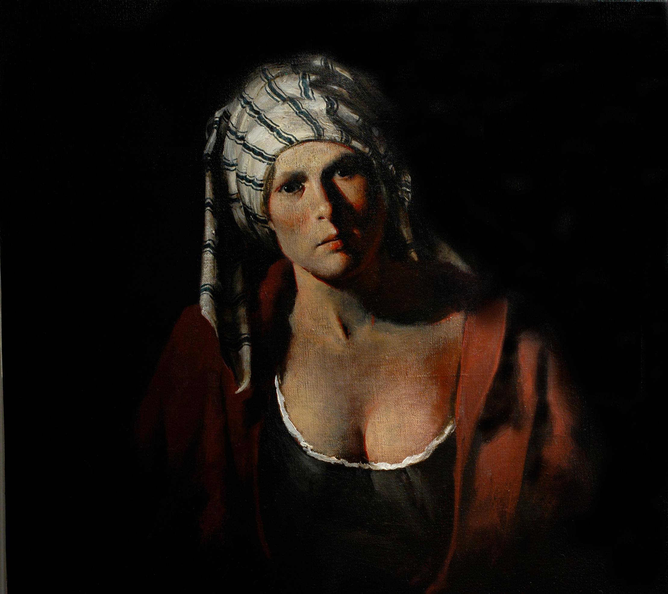 Striped Cap,  Portrait, Figurative, Baroque, Female, Oil, Painting, Timeless