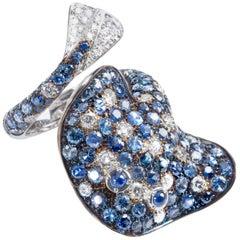Ray Fish White Diamond Blue Sapphire 18 Karat Gold Ring Made in Italy Petronilla