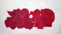 Still Life 9-27-2014, red abstract multi-media painting, 2014