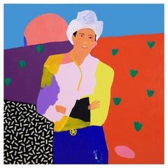 'Ray of Sunshine' Cowboy Portrait Painting by Alan Fears Pop Art