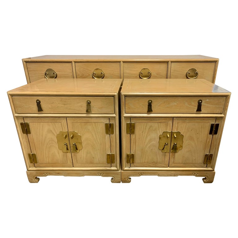 Ray Sabota for Century Furniture Three Piece Bedroom Set Dresser Two Nightstands For Sale