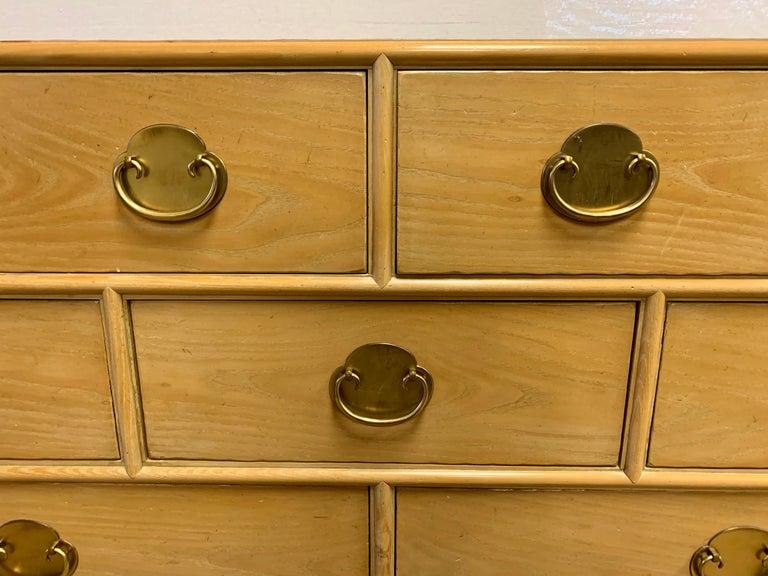 Brass Ray Sabota Signed Century Nine Drawer Dresser For Sale