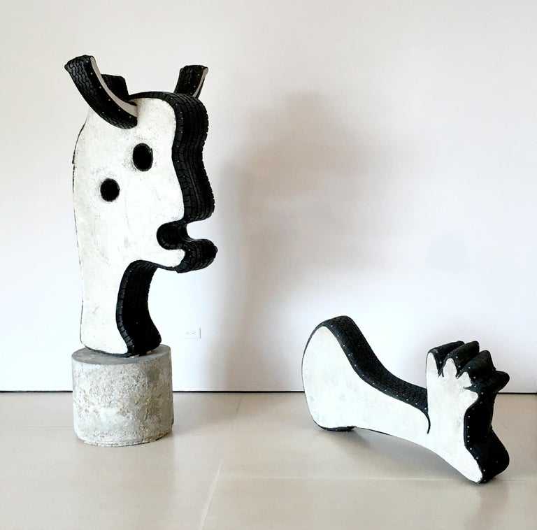 Ray Smith, Bull, concrete and rubber, outdoor sculpture, after Picasso Guernica - Mixed Media Art by Ray Smith