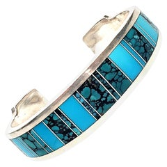 Ray Tracey Native American Sterling Silver Inlaid Turquoise Cuff Bracelet