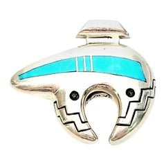 Ray Tracey Native American Sterling Silver Turquoise Heartline Bear Pendant