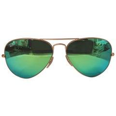 Rayban gold tone green mirrored lens sunglasses NWOT